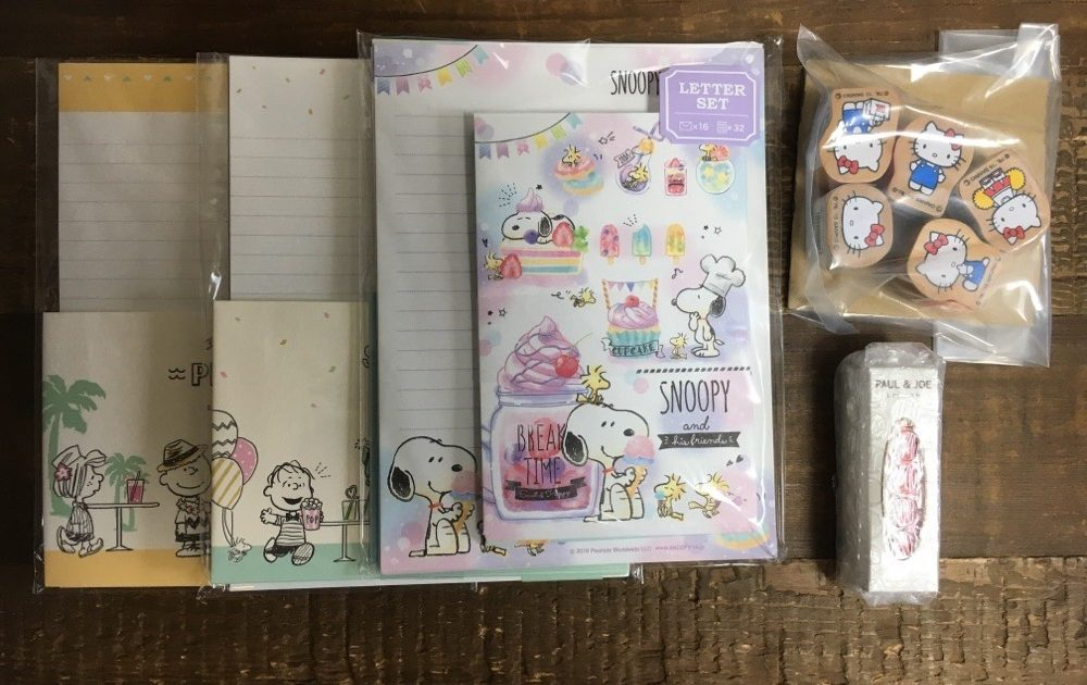 Peanuts Snoopy Letter Sets, Hello Kitty Stamps and PAUL & JOE Lipstick